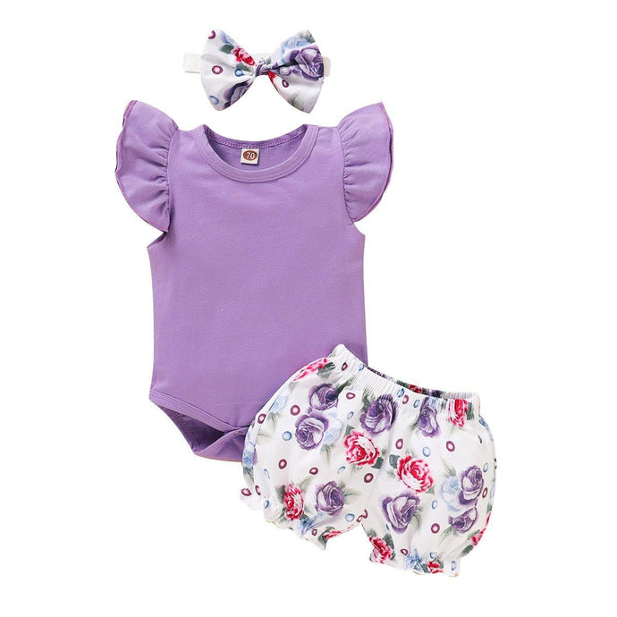 3PCS Infant Kid Baby Girl Fly Sleeve Purple Romper+Flowers Print Shorts Headband Summer Outfit - Beccaskulture