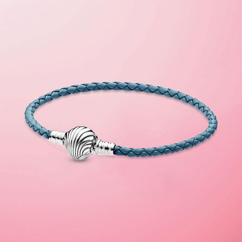 New Summer 925 Sterling Silver Seashell Clasp Turquoise Braided Leather Bracelet - Beccaskulture