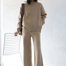 Charger l'image dans la galerie, Two Piece Set Pullover Sweater Tracksuit Women High Waist Knit Wide Leg Pants - Beccaskulture