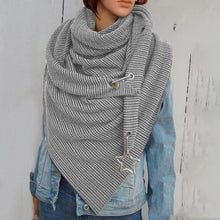 Load image into Gallery viewer, Women Soild Star Printing Button Wrap Casual Warm Scarves Shawls Multi-purpose Shawl Scarf - Beccaskulture