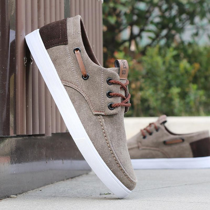 Men Lace-up Comfortable Breathable Canvas Casual Shoes - Beccaskulture