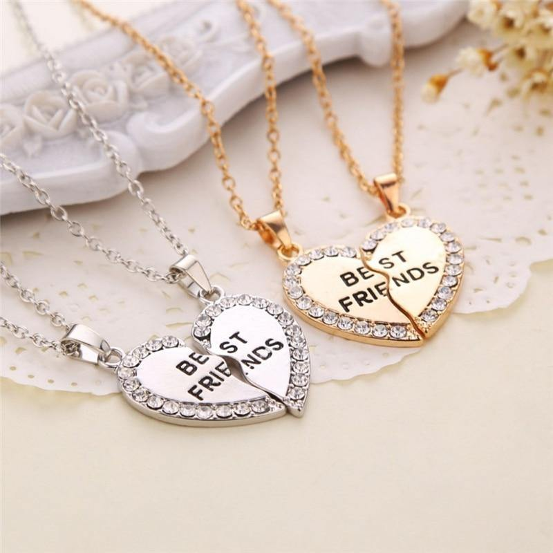 2 Pcs BFF Necklace Women Crystal Heart Pendant Best Friend Letter Necklace - Beccaskulture