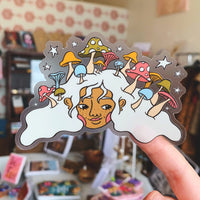 "Mushroom Head - 4"" transparent sticker"
