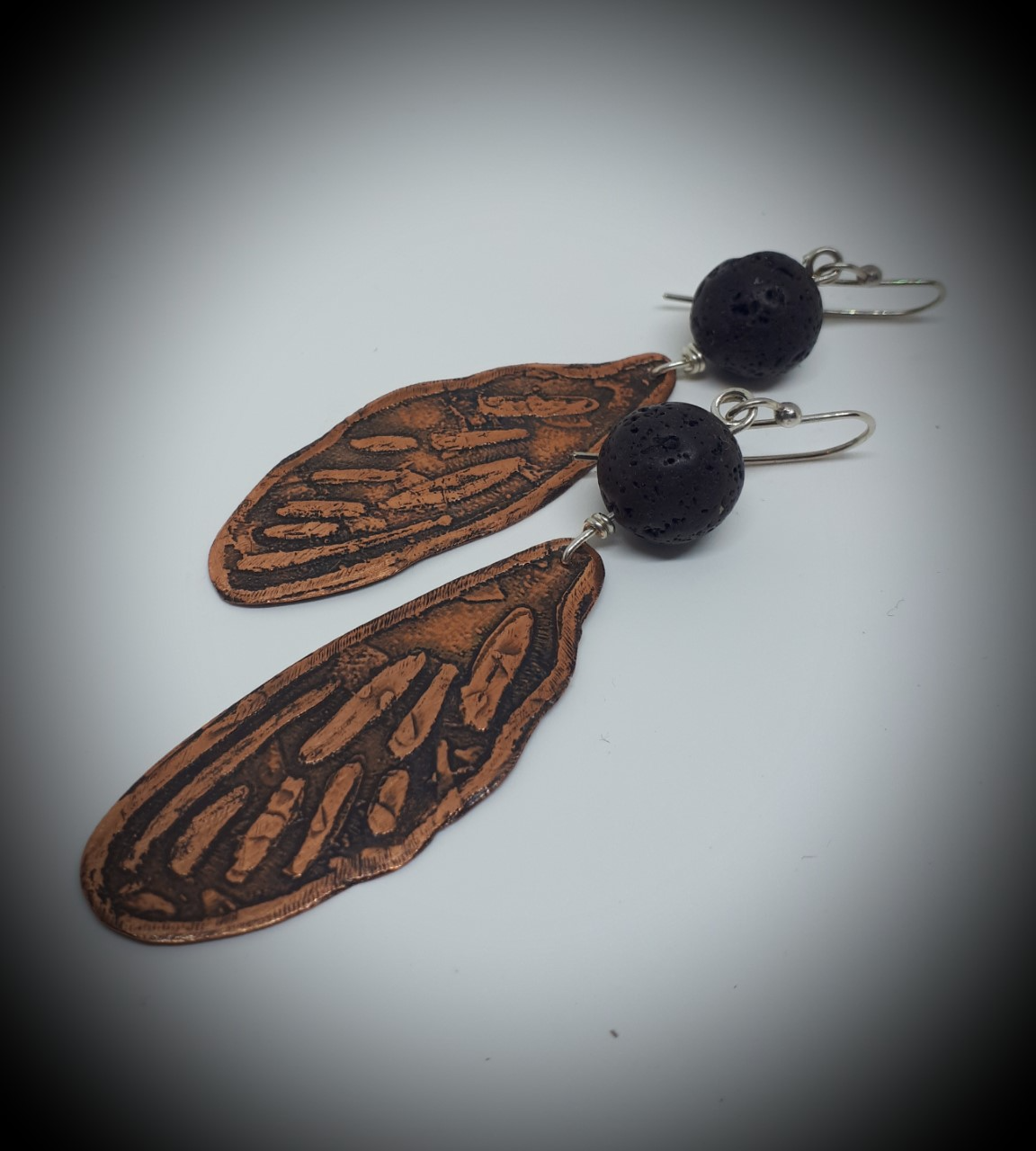 Butterfly Series: Etched Copper Earrings with Lava Bead
