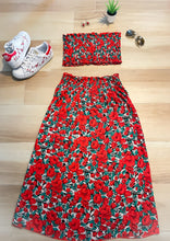 Load image into Gallery viewer, Boho floral top and skirt set