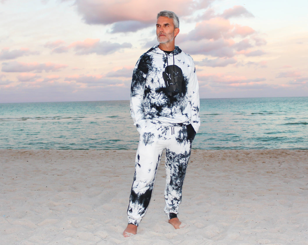 Men tie dye graphic hoodie and sweatpants set