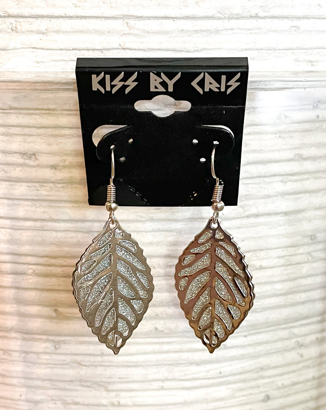 Glitter silver leaves earrings