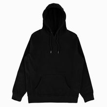 Load image into Gallery viewer, Our black hoodie is made with ultra soft cotton fleece with a cozy brushed interior. This is an exceptionally high - quality and comfortable sweatshirt. - 400gsm Heavyweight GOTS Organic Cotton with brushed interior - 100% GOTS Organic Cotton body - 100% GOTS Organic Cotton double-folded flat knit cotton ribbing