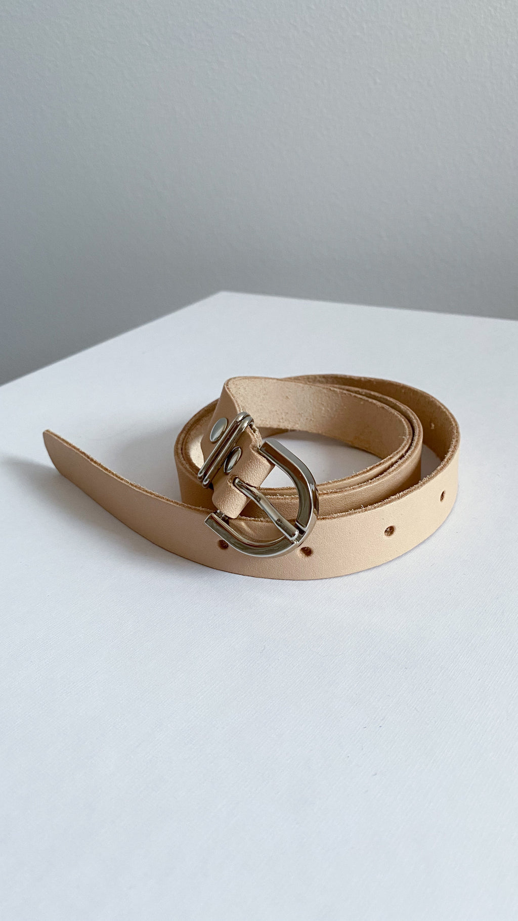 Leather belt - CREAM