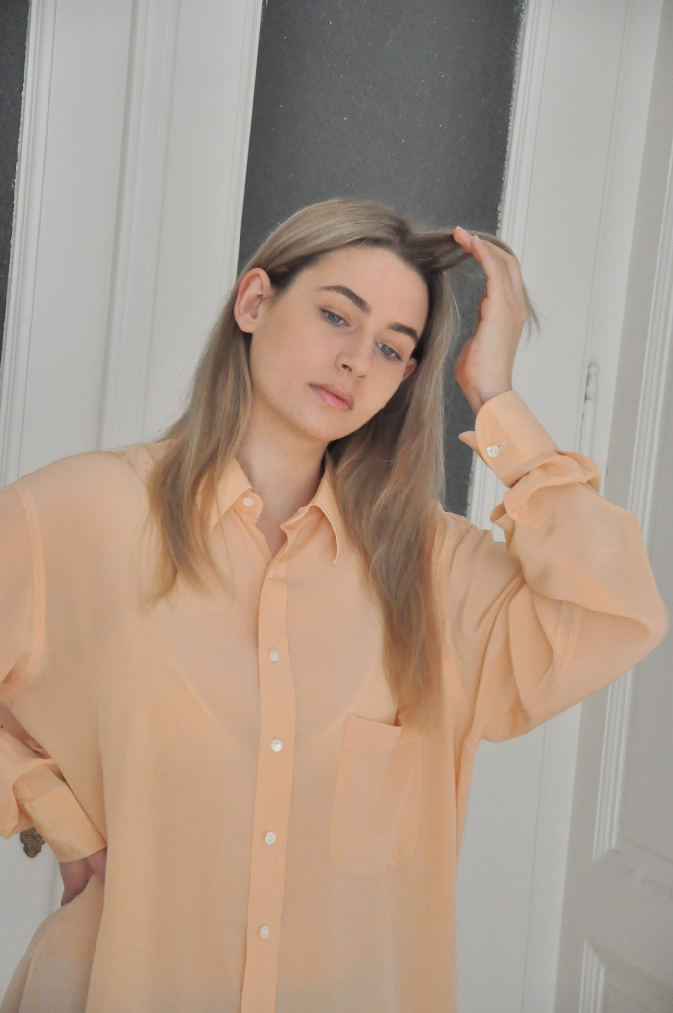 100% pure silk shirt in peach - XL or oversized