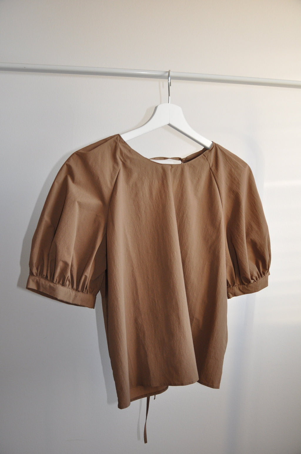 Ruffle blouse chocolate in 3 sizes XXS-L - Upcycled by Nimfa