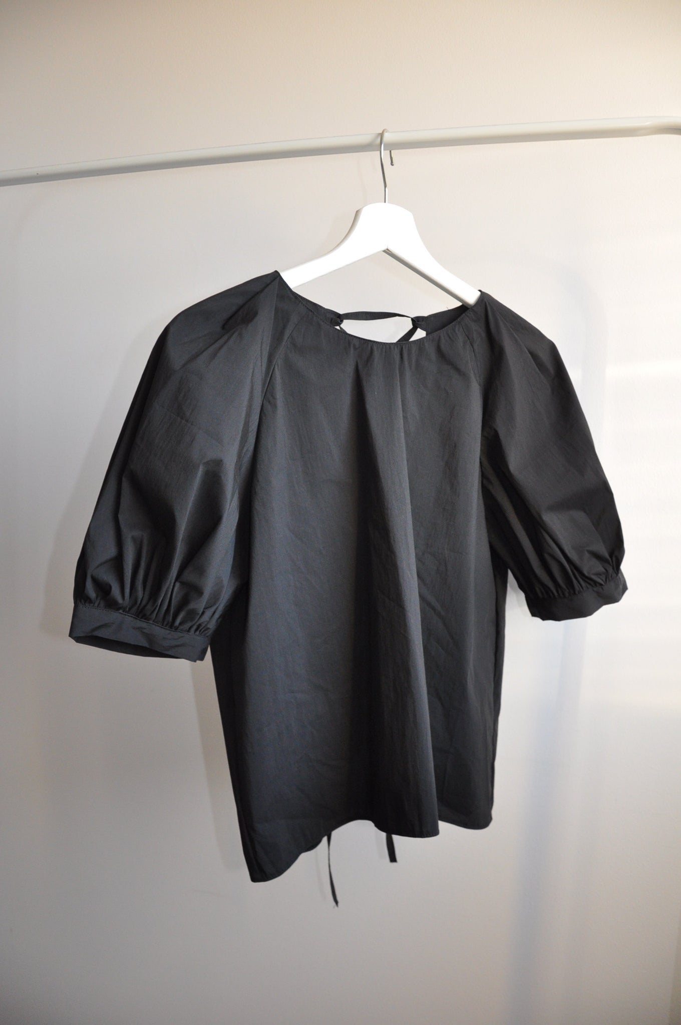 Ruffle blouse black xs-m - Upcycled by Nimfa