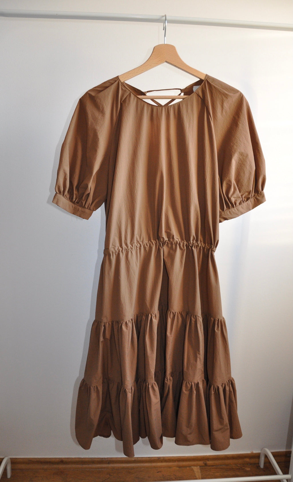 Ruffle dress chocolate in 2 sizes XS-L / Upcycled by Nimfa