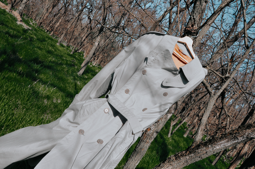 Trench coat with belt in sage | L-XL or oversized