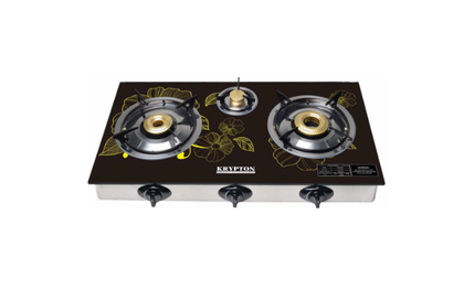 3 burner-stainless steel frame and tray-3 Burner - Gas Hob Cooker - Flame Gas Burner with 7mm tempered glass - flame failure safety device- Piezo Auto Ignition