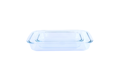 Royalford RF2709-GBD Glass Oblong Baking Dish Set, 2 Pcs | Glass Oblong Glass Baking Tin Set -2Pcs2.2 and 1L, Durable and Sturdy Glass Material Baking Trays for Multiple Baking Purposes