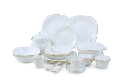 Royalford RF6809 Opal Ware Lyra Square Dinner Set, 96 Pcs