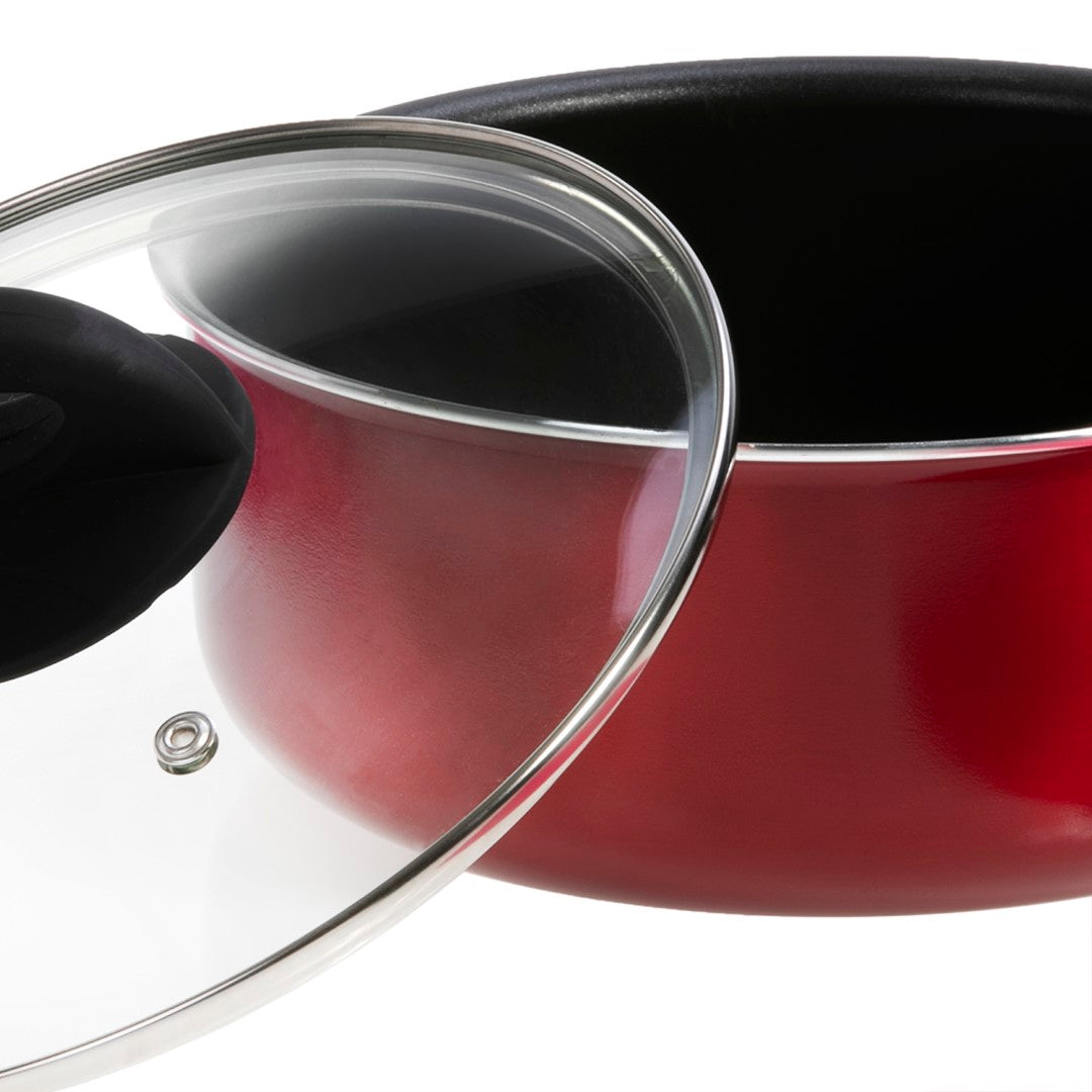 Royalford RF6955 Non-Stick Sauce Pan With Lid, 20 CM | Non-Stick Sauce Pan with Lid, Elegant and Stylish Heat-Resistant Sauce Pan Made of Heavy-Duty Bakelite Material