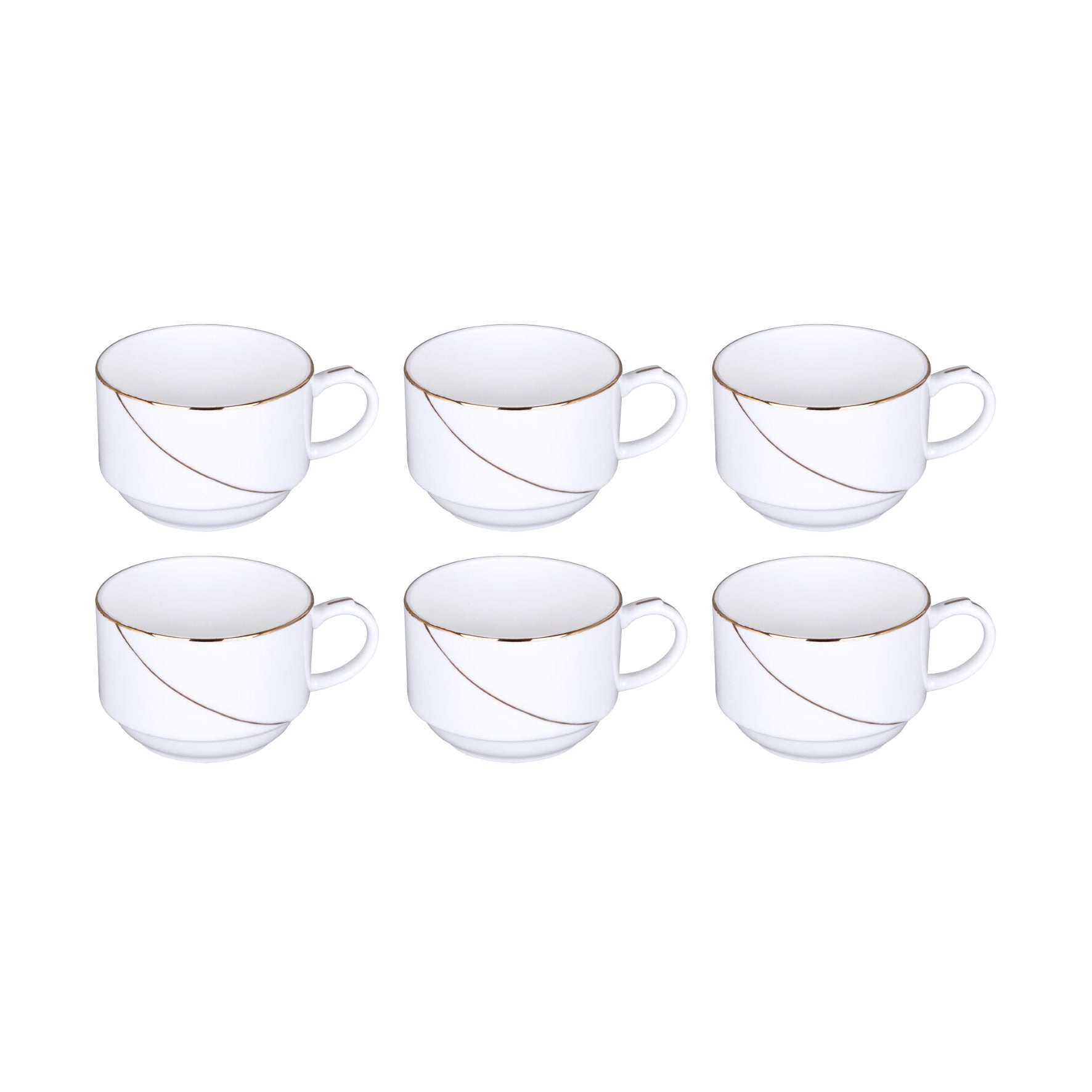 6Pcs Cups(Golden Line)New Bone China1x12