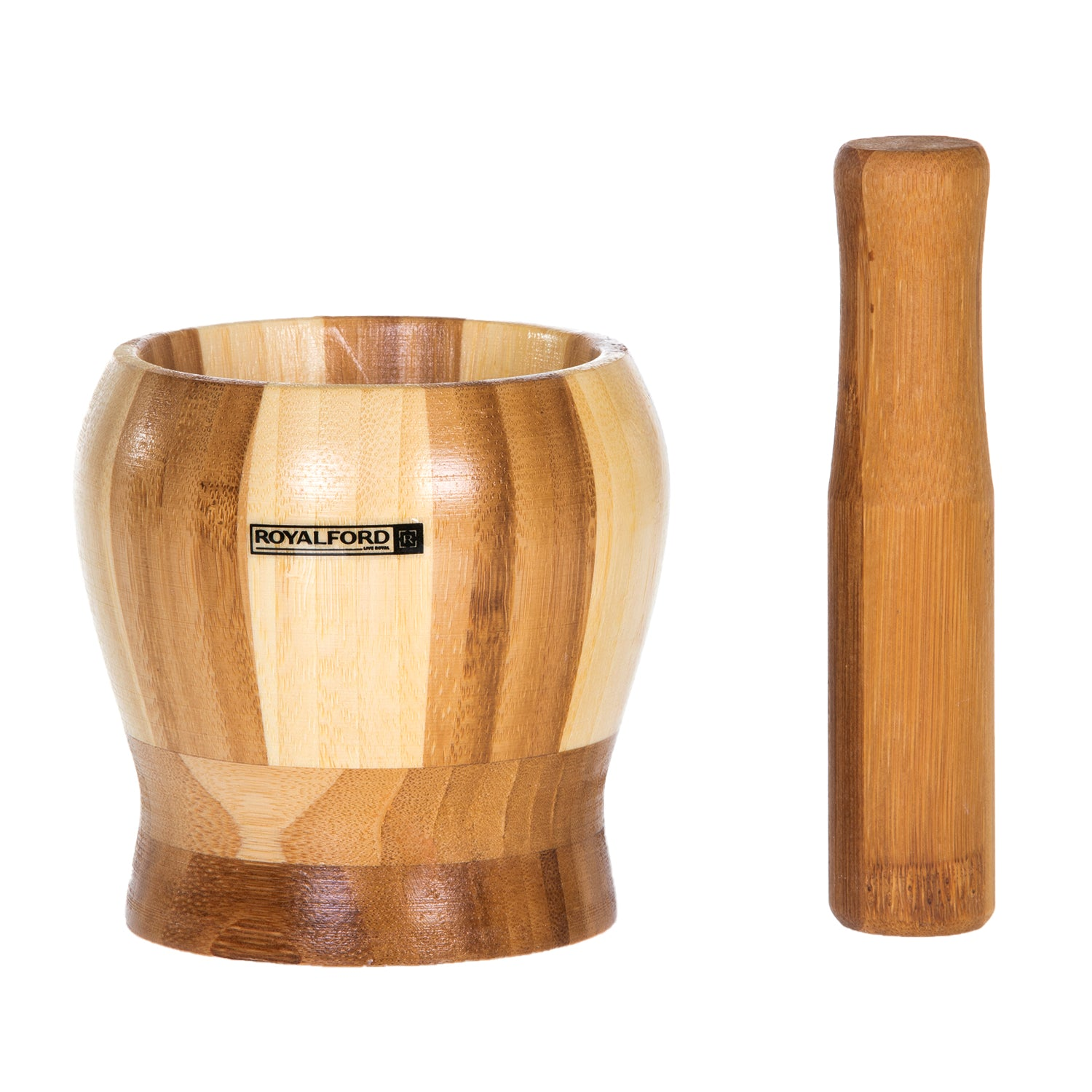 Royalford RF6018 Bamboo Grinding Bowl | Pestle & Mortar Set | Premium Bamboo | 16cm (6.3 Inch ) Diameter | Ideal for Herbs, Spices, Ginger, Garlic Grinder & Crusher | Natural Pestle & Mortar Set | Durable, Long-Lasting & Easy Cleaning