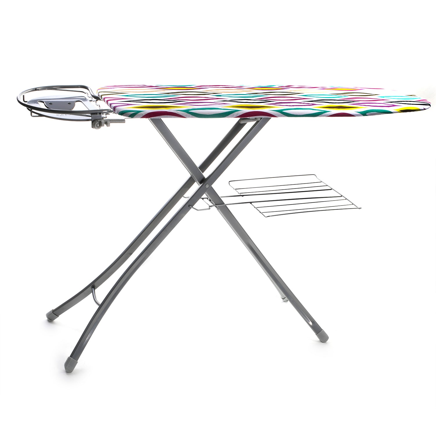 Royalford RF366IBM Mesh Ironing Board with Attached Cloth Rack, 122x38cm | Lightweight and Compact Ironing Board with Height Adjustment Feature