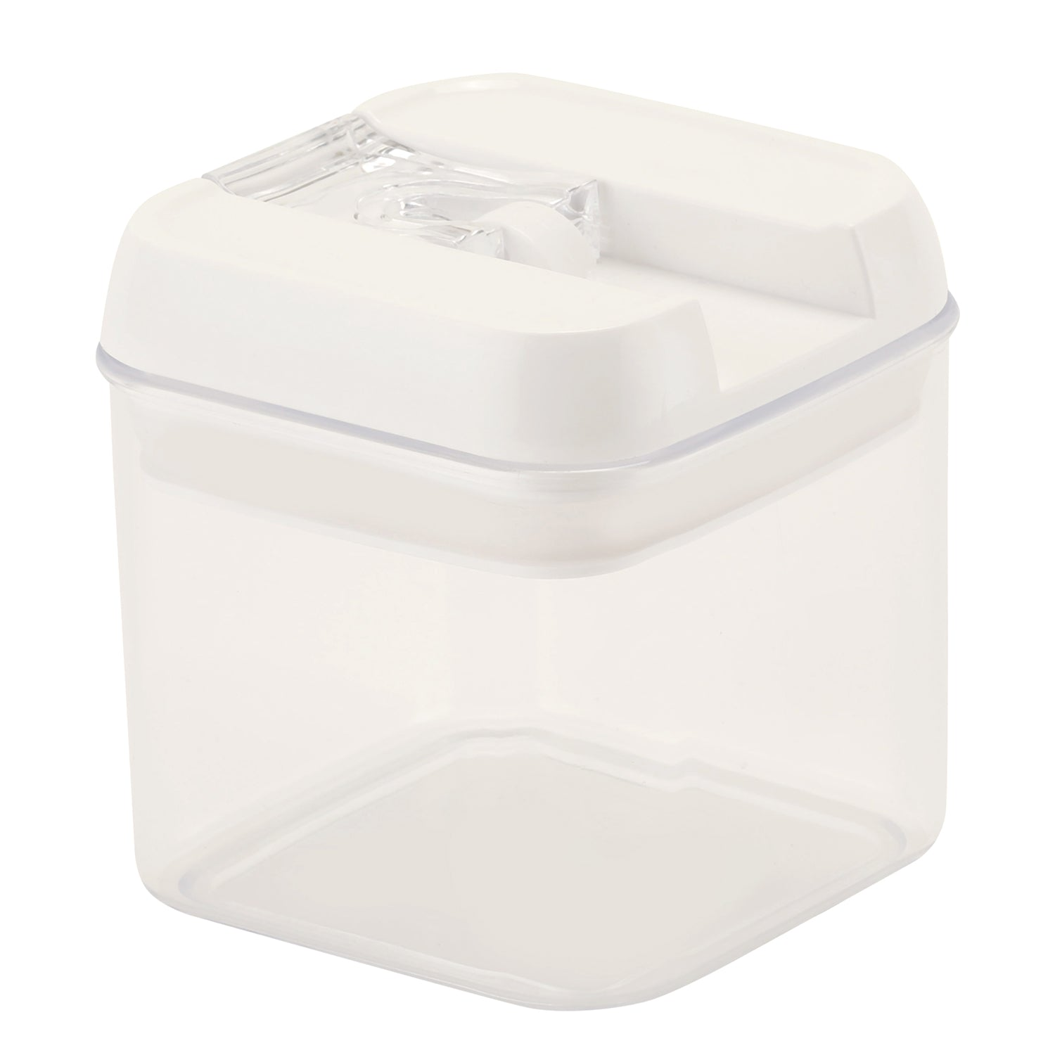Royalford RF7696 Pop Square Canister, 1.0L - Stackable Food Storage Container with Airtight lids, Sweet, Snack, Spaghetti & Cereal Dispenser – Durable, Transparent, Mini Pantry Storage Organizers for Kitchen