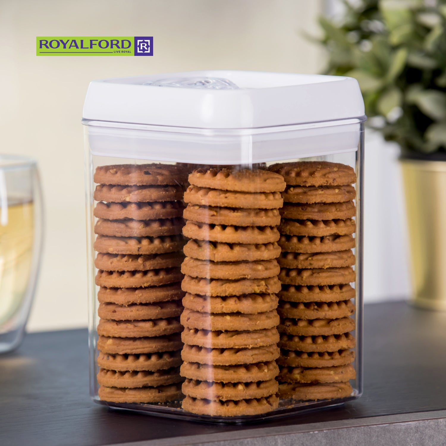 Royalford RF7697 Pop Square Canister, 1.7L - Stackable Food Storage Container with Airtight lids, Sweet, Snack, Spaghetti & Cereal Dispenser –Durable, Transparent, Mini Pantry Storage Organizers for Kitchen