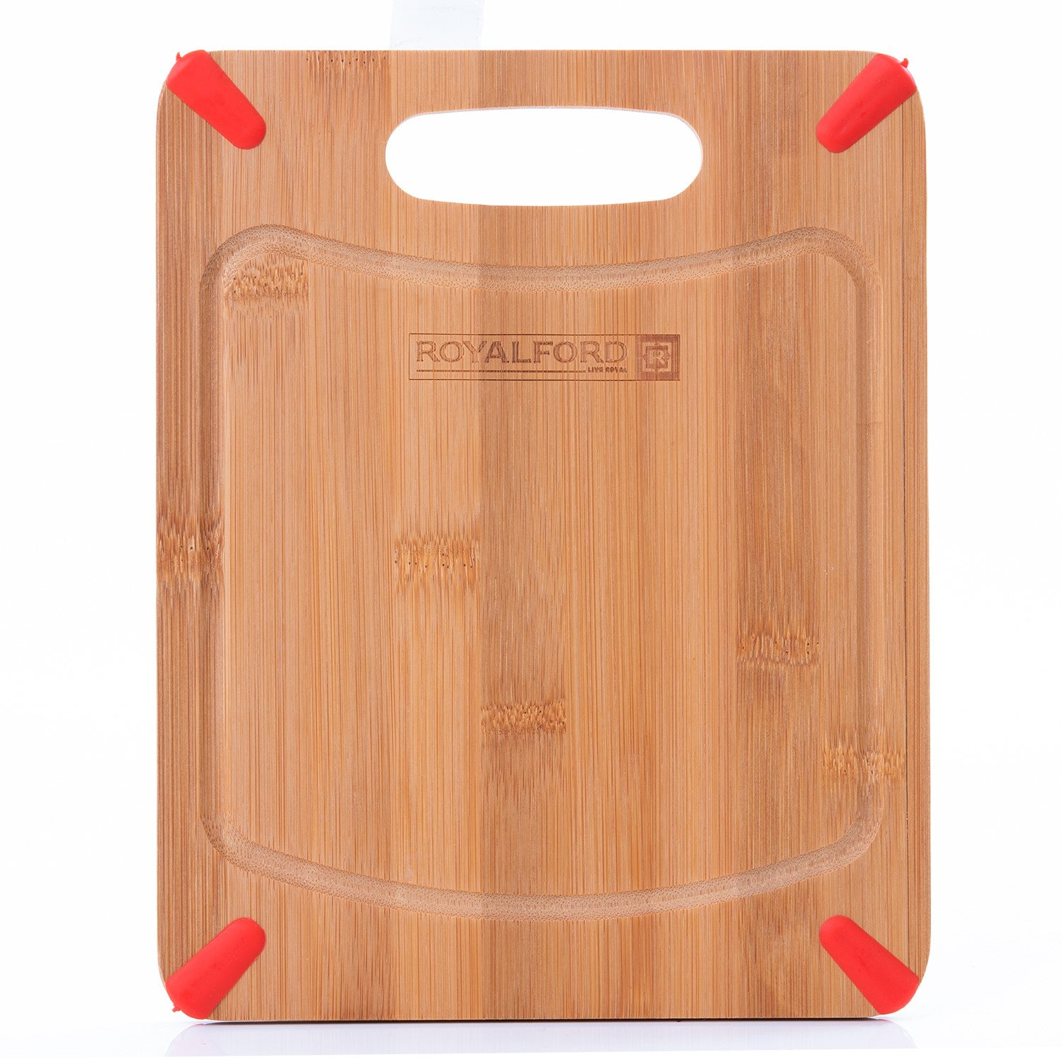 Royalford RF8685 Carbonized Organic Bamboo Cutting Board, 25x20x0.8 CM | Large Kitchen Cutting Board - Best for Food Prep, Meat, Vegetables, Bread & Cheese - Professional Grade for Strength, Durability & Lightweight