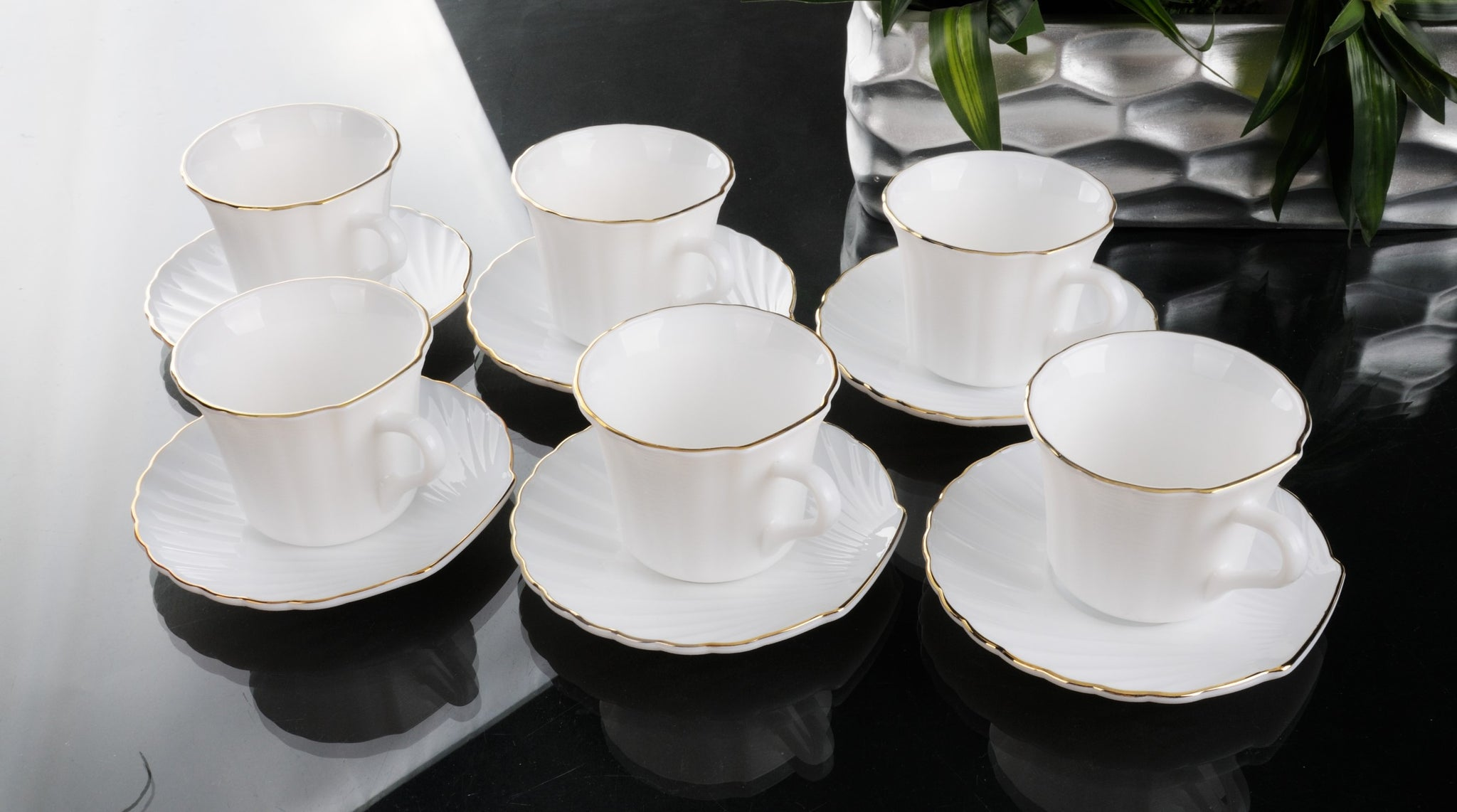 12Pc Shell Shape Cup&Saucer/Silvr 1X12