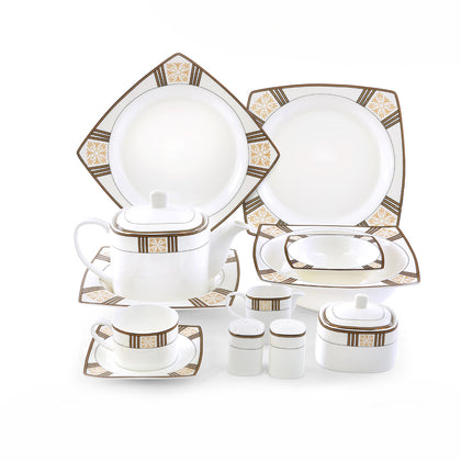 Royalford RF8390 Square Reflect Fine Bone Dinner Set, 47pieces