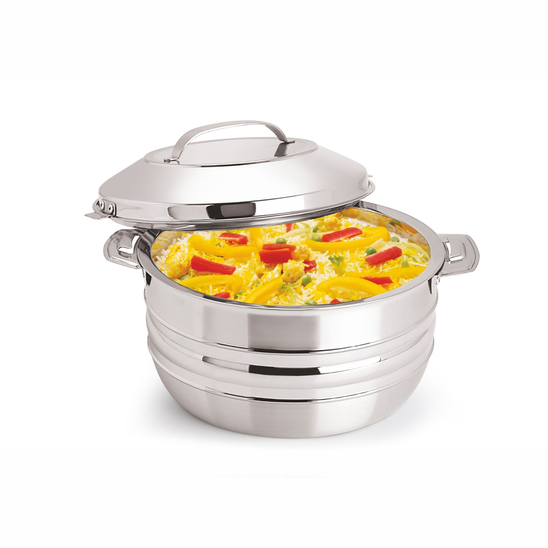 Royalford RF8416 - 6L Stainless Steel Esteelo Hot Pot - Double Wall Hot Pot | Serving Dishes with Lids | Hot Food Storage Containers & Warmers with Comfortable Handle | Storage Saver for Everyday Use