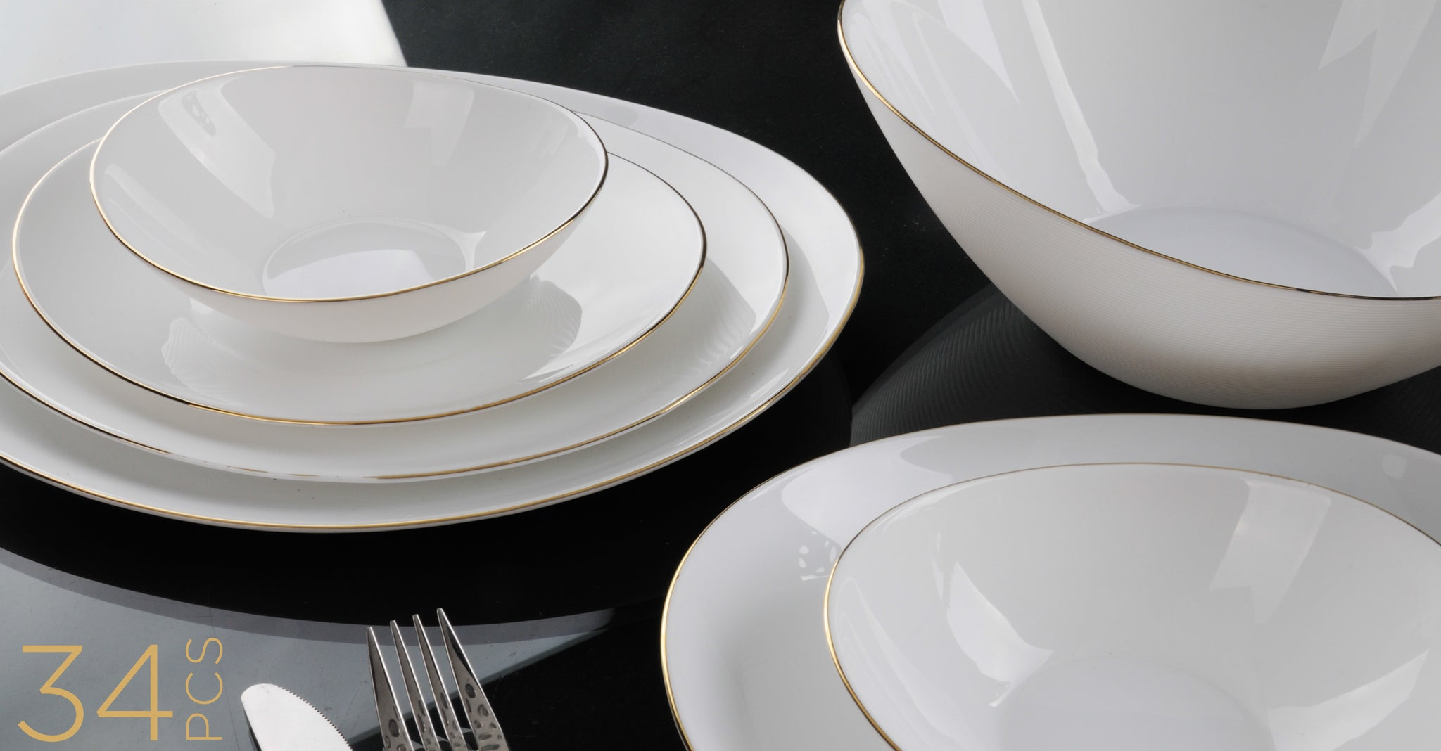 Royalford RF7880 Opal Artisan Gold Dinner Set, 34pieces