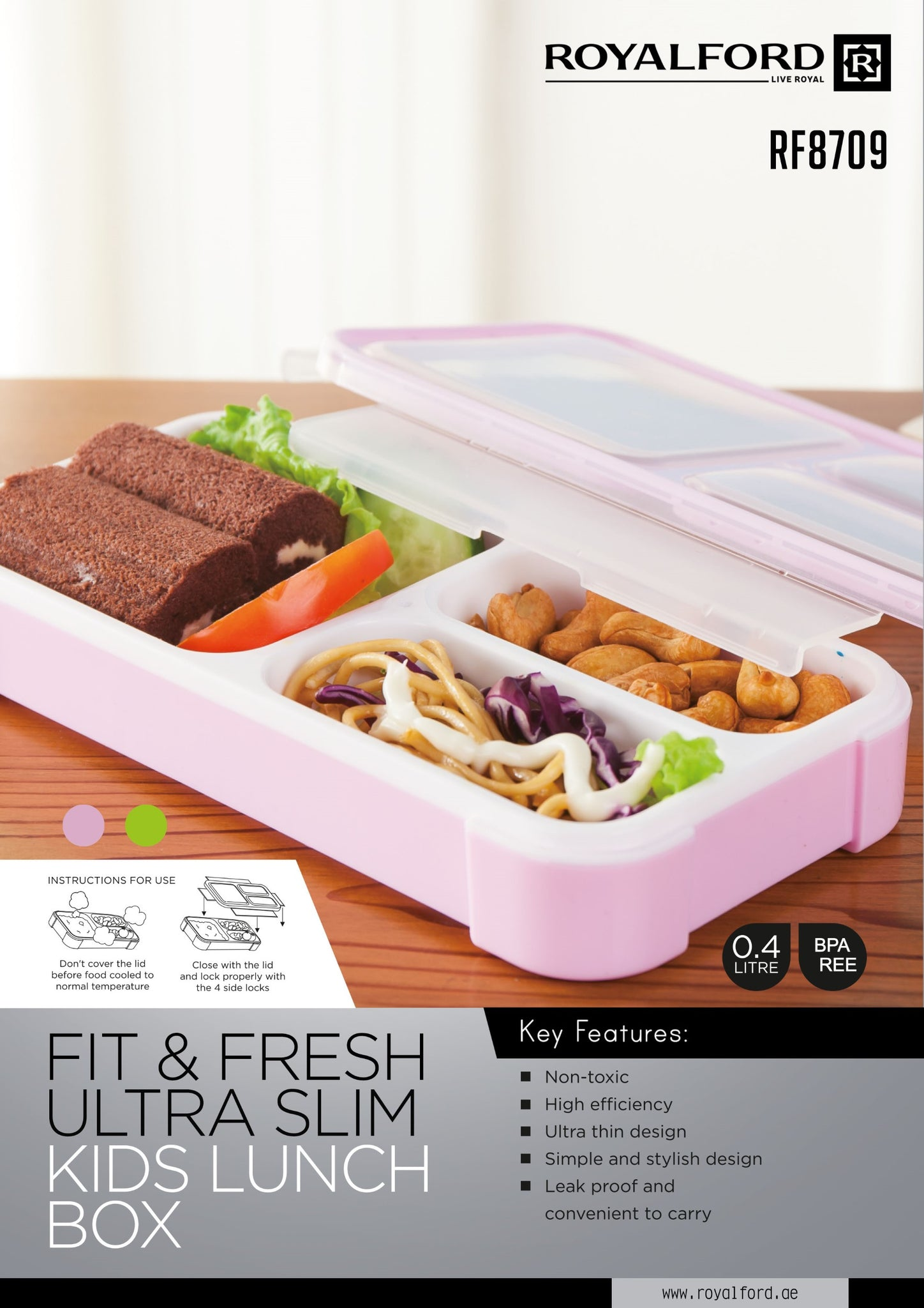 Royalford RF8709 Ultra-slim 3-compartment Fit & Fresh Lunch Box, 0.4L