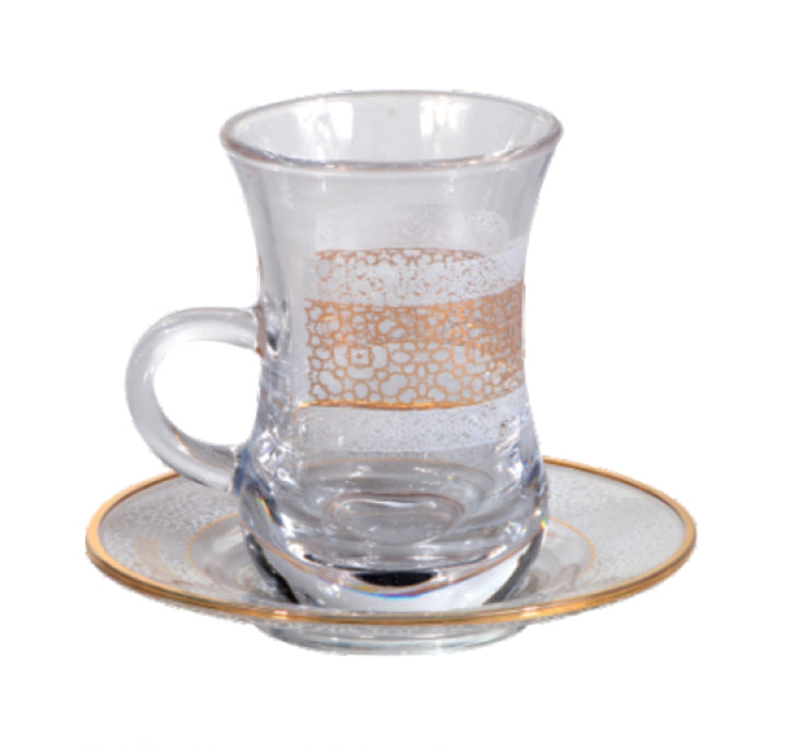 Royalford RF8731 12 Pcs Lira Royal Tea Set - Made up of High Quality Glass for Regular Use | Ideal for Tea, Coffee, Latte, Cappuccino or Espresso Cup with Saucer | Glass Tea Set