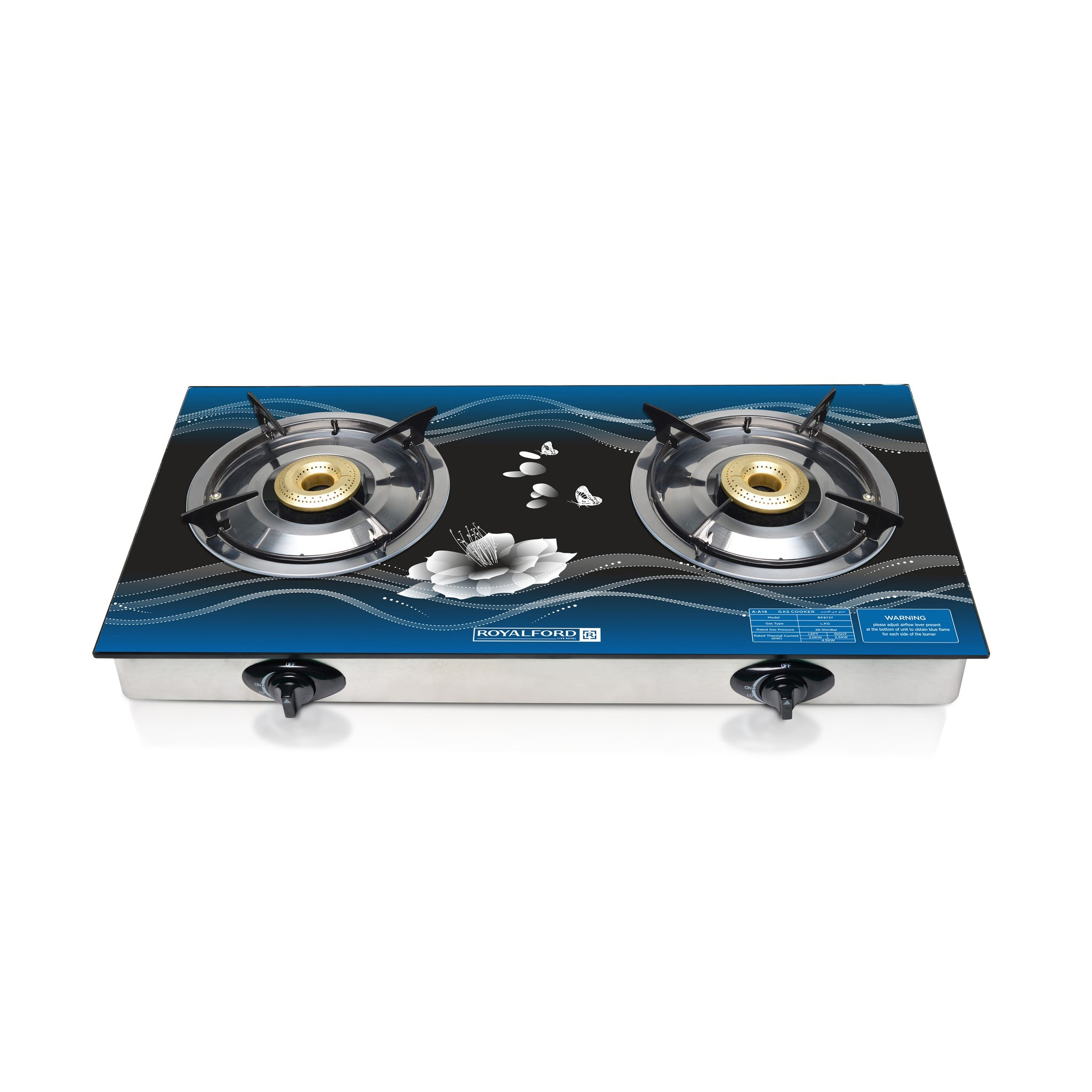 Royalford RF8737 Glass Top Double Gas Burner - Ergonomic Design, Automatic Ignition, 2 Heating Zones | Stainless Meat Frame & Tray with Glass Top | Easy to Clean
