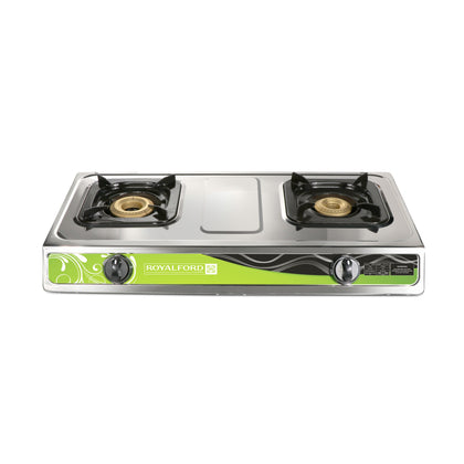 Royalford RF8738 2-Burner Gas Hob/Cooker - Attractive Design, Gas Range 2-Burner Stove Cooktop, Auto Ignition, Outdoor Grill, Camping Stoves| Stainless Steel Body