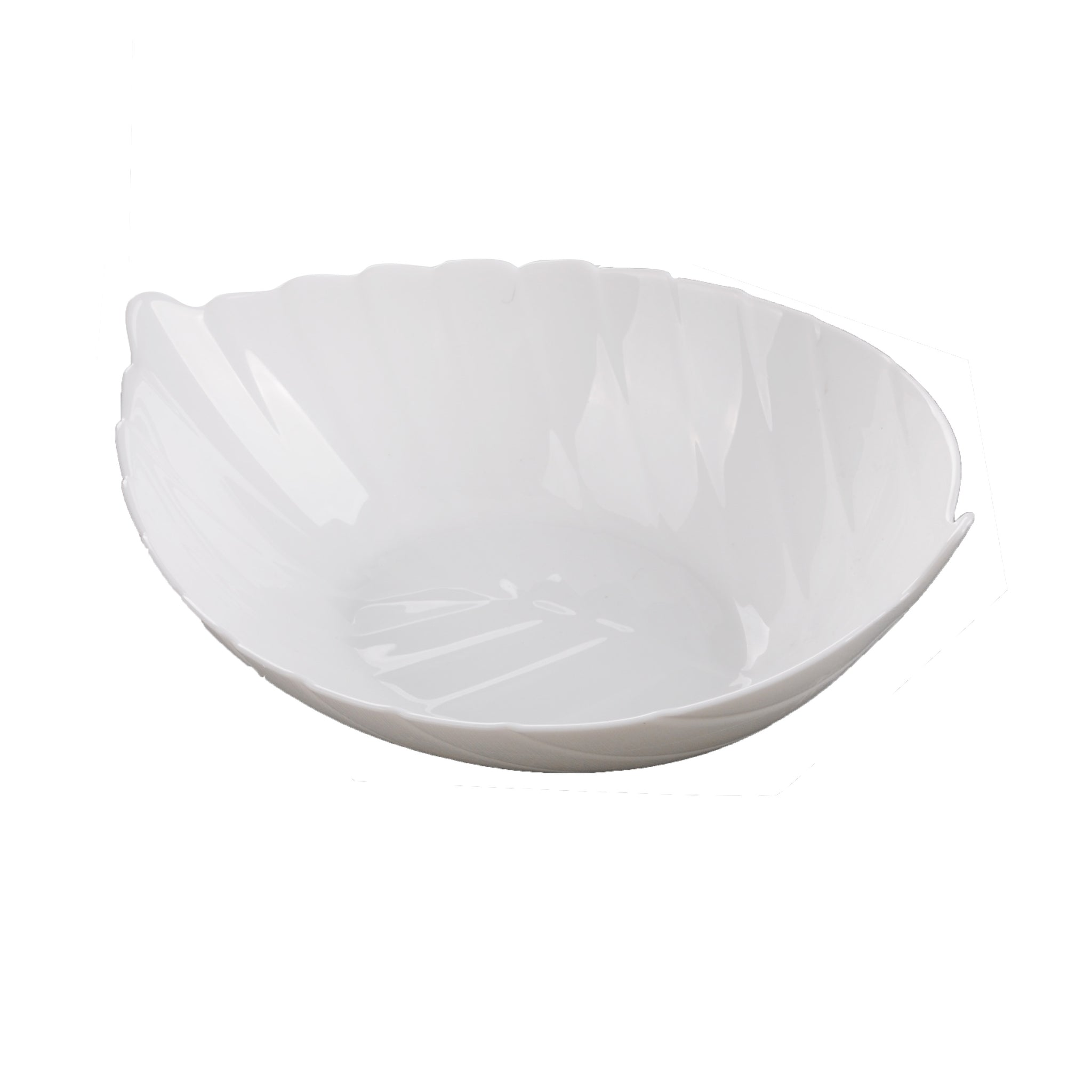 Royalford 5-inch Leaf Shape Bowl Design - Portable, Lightweight Bowl Breakfast Cereal Dessert Serving Bowl | Durable Material | Ideal for Rice, Pasta, Deserts, Ice-cream & More (White)