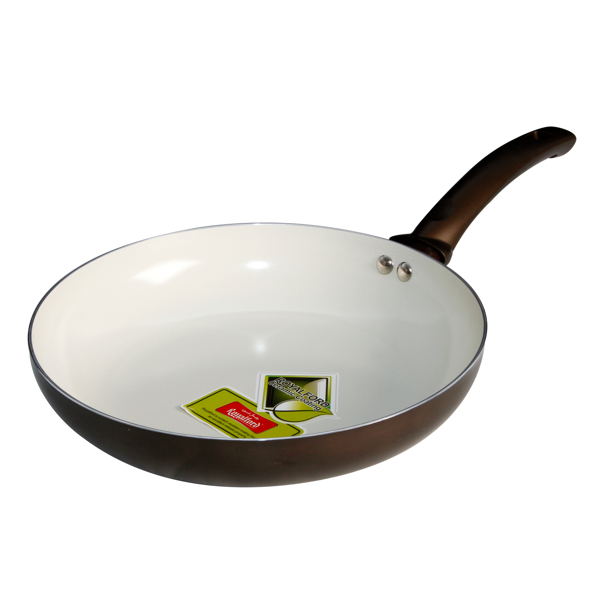 Royalford RF6642 - 26cm Ceramic Induction Base Fry Pan - Non-stick Fry Pan with High Grip Handle & Hanging Loop | Evenly Heating Base | Ideal Frying, Cooking & More