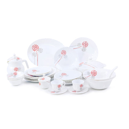 Royalford RF6815 Opal Ware Round Dinner Set, 96 Pcs