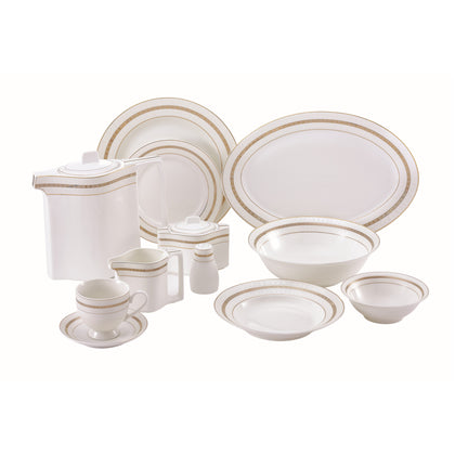 Royalford 47Pcs Ovation Fine Bone Round Dinner Set - Portable Design Plates, Bowl, Pot, Cups & Saucer | Comfortable Handling | Perfect for Everyday Use, & Get- Together, Restaurant, Banquet & More