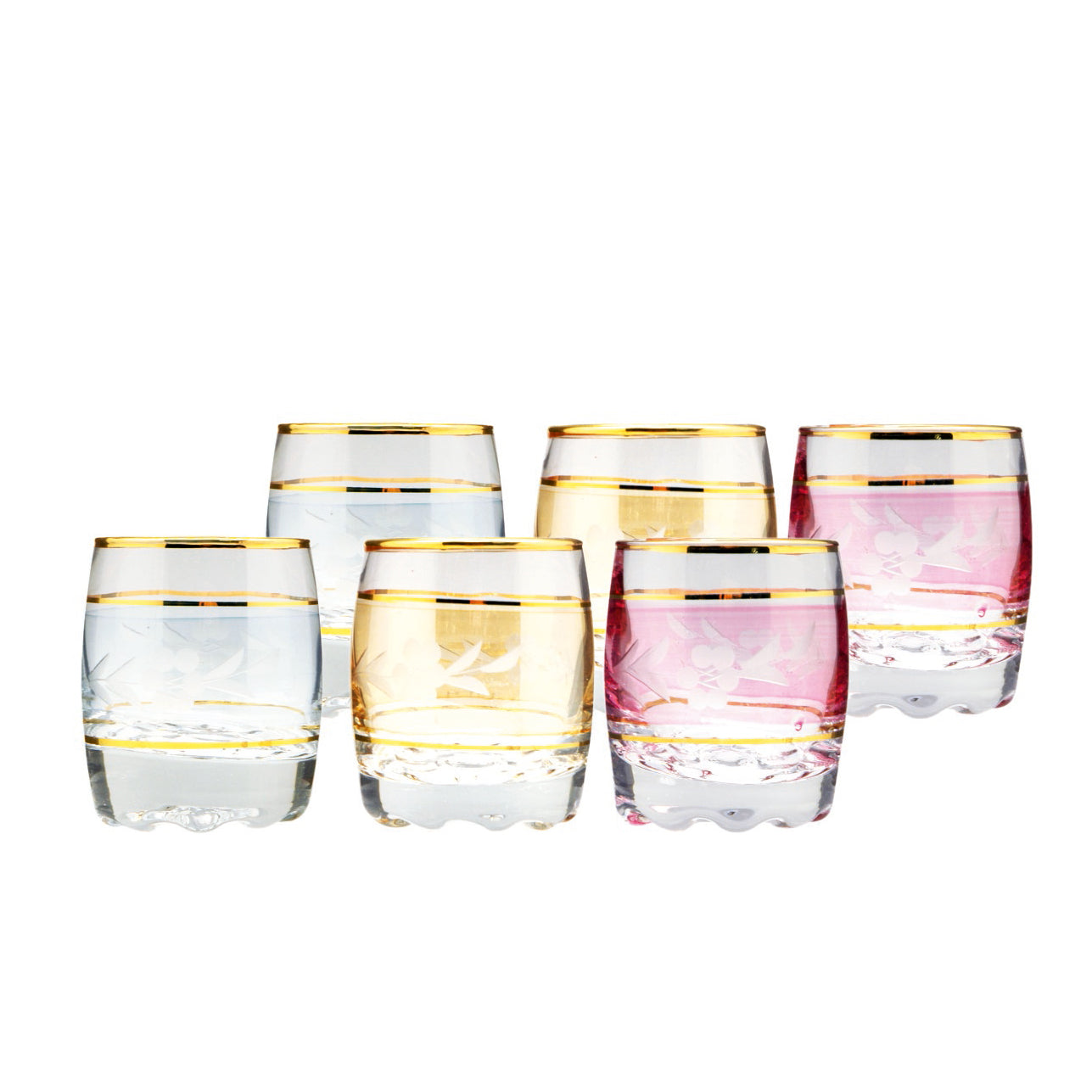 Royalford RF7446 - 6Pcs High-Grade Glassware - Portable, Dishwasher Safe | Ideal for Party Picnic BBQ Camping | Dishwasher Safe | Perfect for Whisky Water Juice Cocktails Wine & More (Multi-Colour)