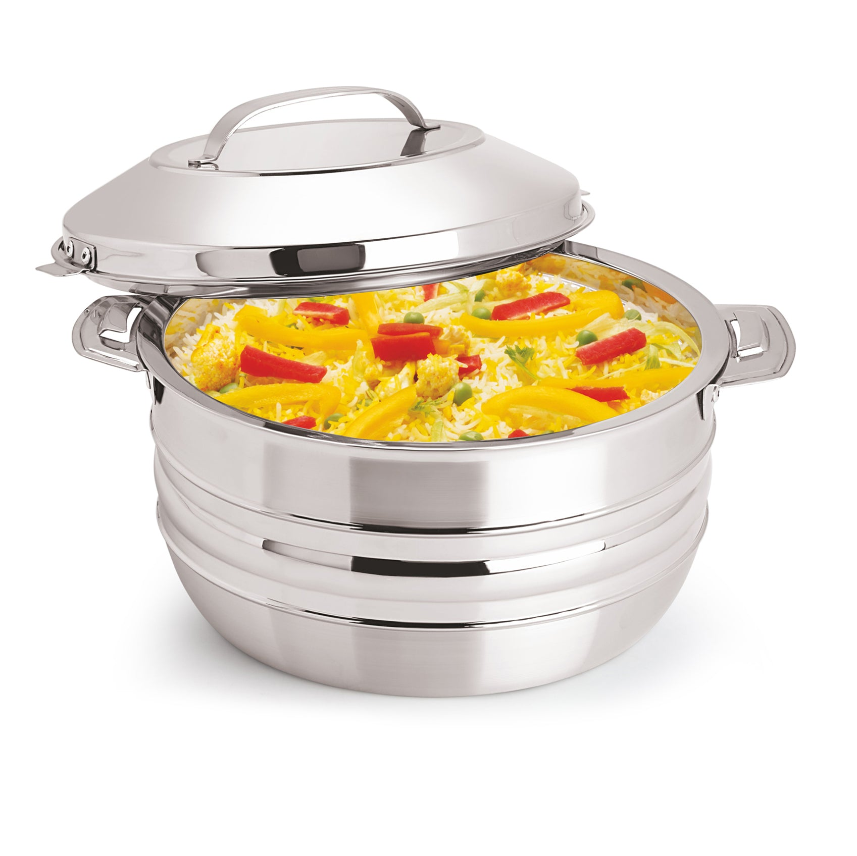 Royalford RF8415N 4L Stainless Steel Esteelo Hot Pot - Double Wall Hot Pot | Serving Dishes with Lids | Hot Food Storage Containers & Warmers with Comfortable Handle | Storage Saver for Everyday Use