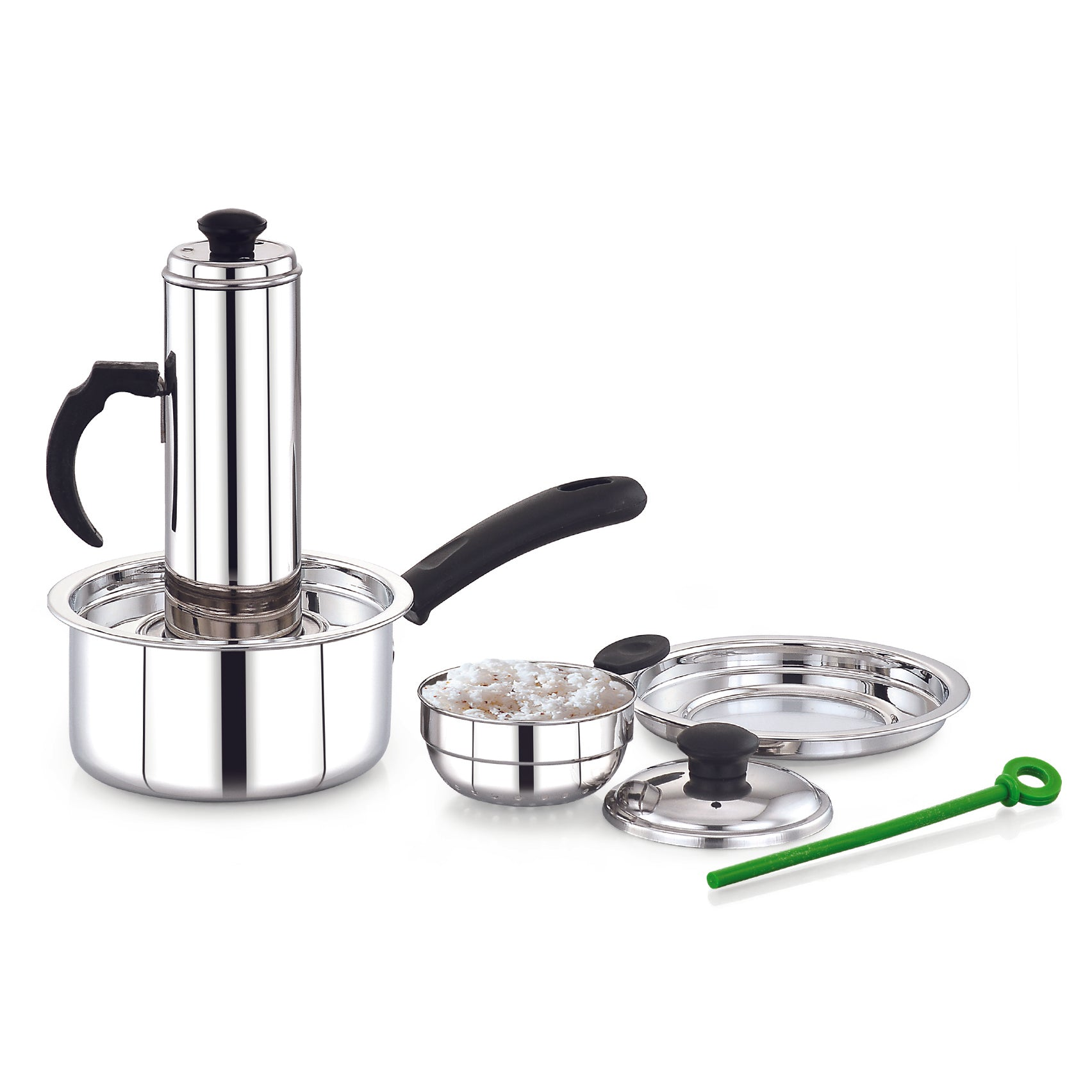 Royalford RF8504  3 In 1 Puttu Maker - Stainless Steel Food Grade Material | Dishwasher Safe, Bakelite Knob & Sturdy Handle | Stainless Steel Stick | Compatible With Hot Plate, Halogen, Gas, & Induction Tops