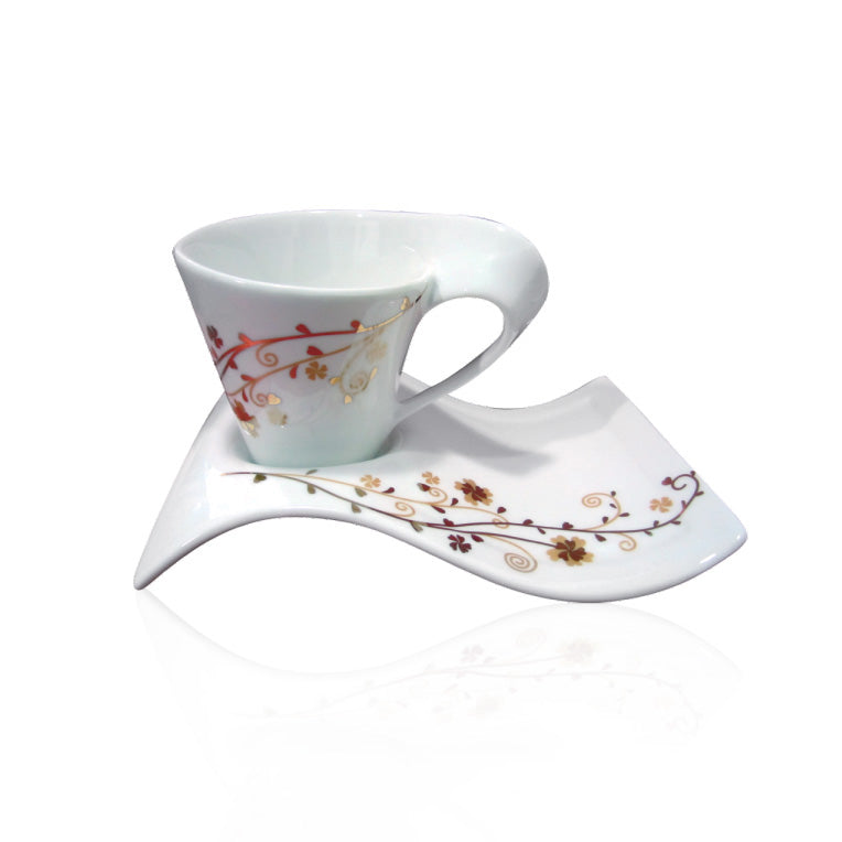 Royalford RF4308 4Pcs New Bone China Cup & Saucer Set - Made up of High-Quality Material for Regular Use Heat Resistant | Ideal for Tea, Coffee, Latte, Cappuccino or Espresso