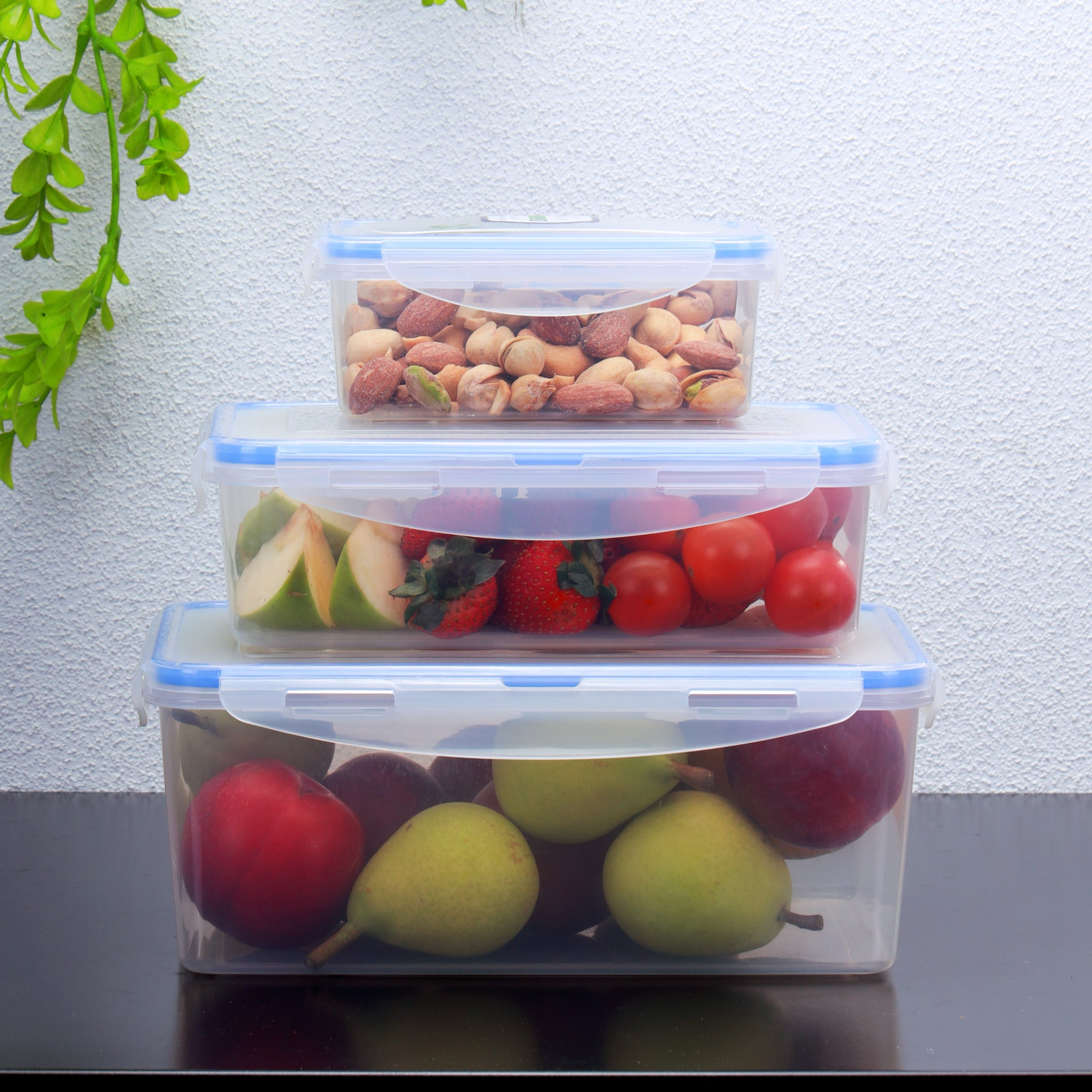 Royalford Meal Prep Containers Set of 3 | Premium Food Storage Transparent Container | BPA Free, Reusable, Airtight Food Storage Tray with Snap Locking Lid | Microwavable, Freezer & Dishwasher Safe
