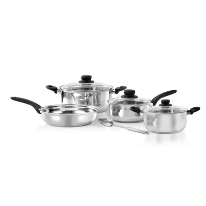 Delcasa Stainless Steel 3 PC Casserole + 1 Saucepan Set with Lids and a Serving Spoon.