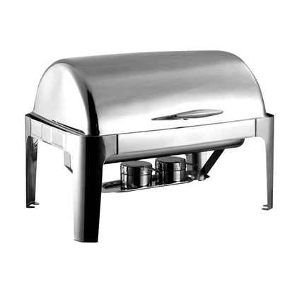 Royalford 9L Stainless Steel Chef Dish - Stainless Steel Chafer Full Size Rectangular Chafers | Lid with Comfortable Handle | Ideal for Catering Buffet Warmer Set with Folding Frame 640X440X450MM