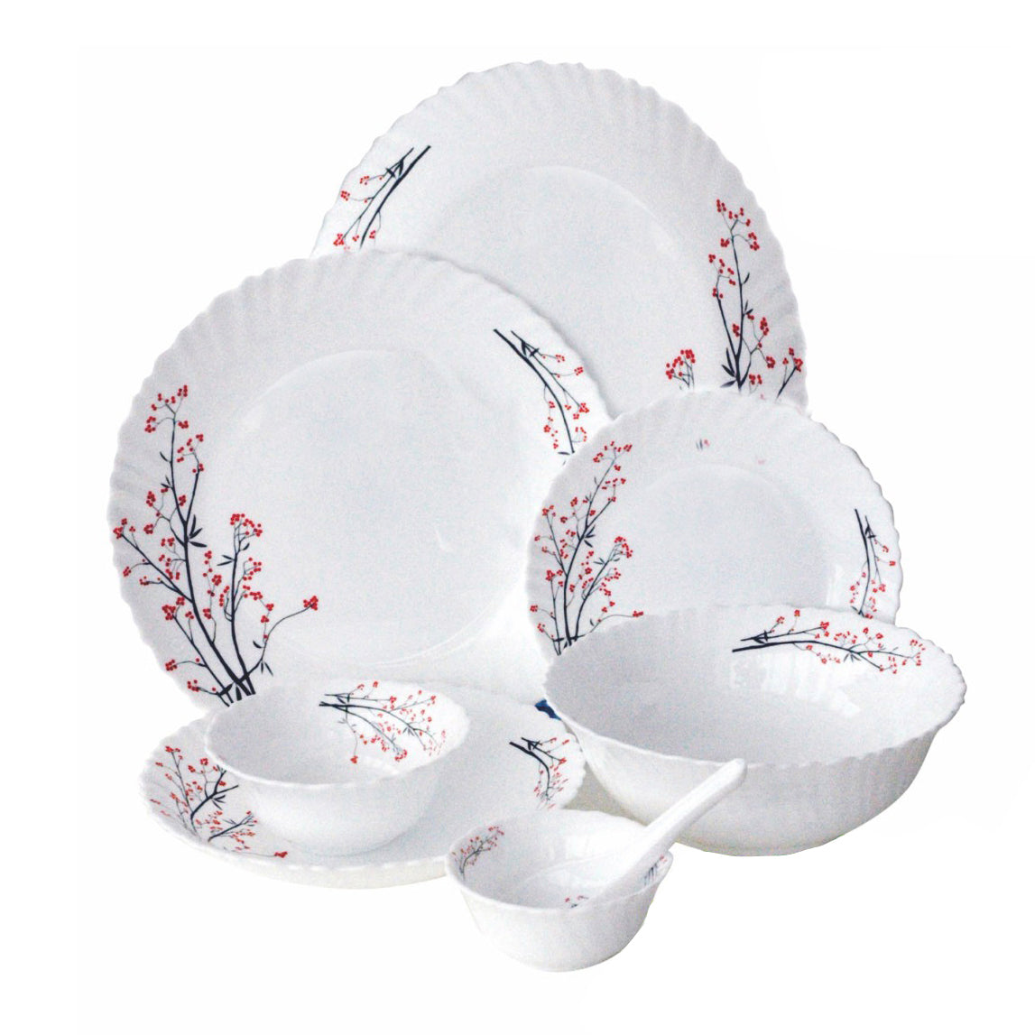 Royalford RF5037 - 40Pcs Opal Glassware Dinner Set - Floral Design Plates, Bowls, Spoons | Comfortable Handling | Perfect for family everyday use, & family get- together, restaurant, banquet & More (White)