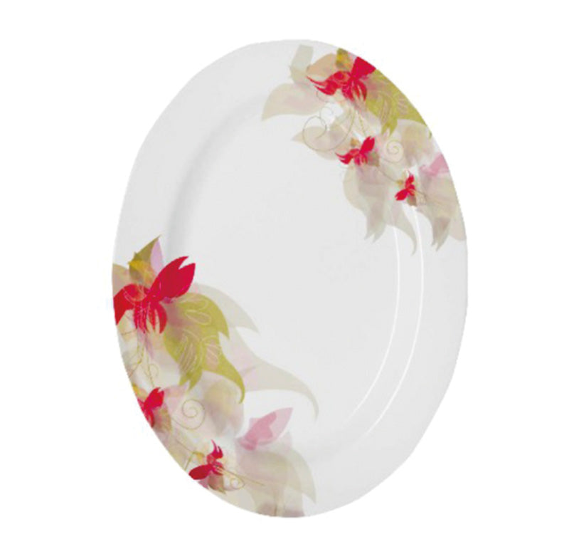 Royalford RF5105 - 14-inch Floral Printed Oval Plate - Maggie, Soup Plates Pasta Plates | Plate with playful Classic Decoration, Dishwasher safe | Ideal for Soup, Desserts, Ice Cream & More (White)
