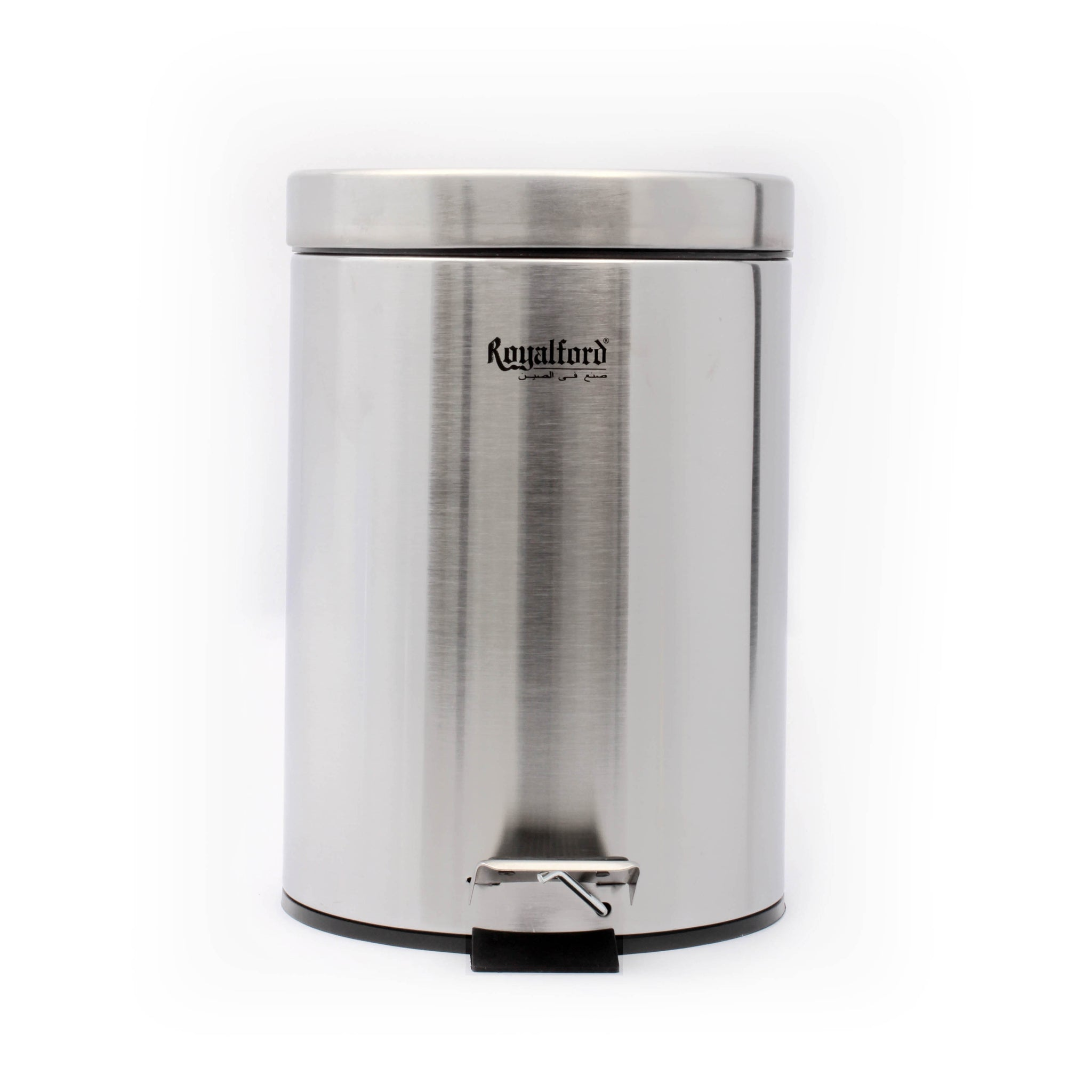 Royalford RF5125 5L Kitchen Pedal Trash Bin | Stainless Steel Rubbish Bin with Soft Close Lid, Foot Pedal, Flat Lid & Strong Plastic Inner Bucket | Fingerprint Proof & Rust Resistant |Odor Free & Hygienic